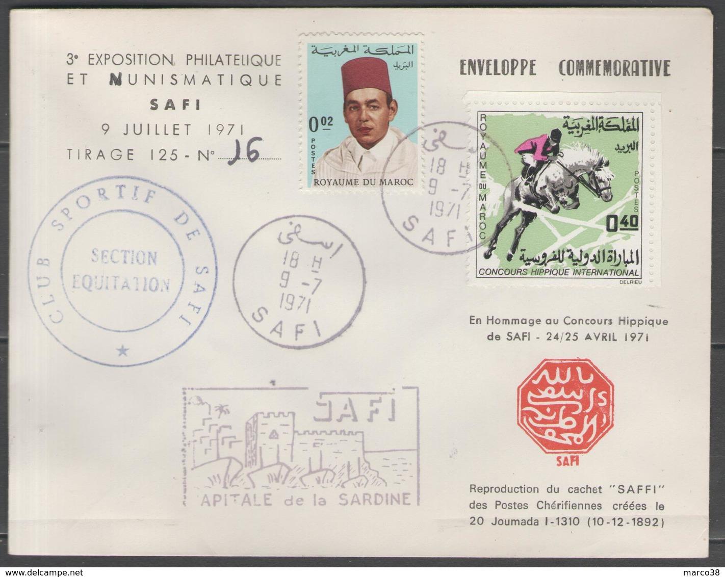 MAROC:  3°exposition Philatélique Et Numismatique De SAFI Sur LSC De 1971 (tirage 125) - Morocco (1956-...)
