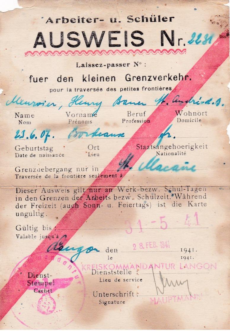 Ausweis, Strasbourg. - Documentos Antiguos
