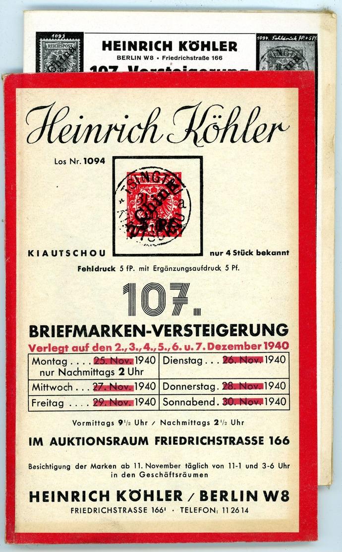 107. Köhler Briefmarken Auktion 1940 - Sehr Seltener Auktionskatalog Mit Den Bildtafeln - Catalogues For Auction Houses