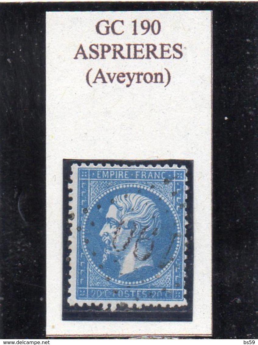 Aveyron - N° 22 Obl GC 190 Asprières - 1862 Napoleon III