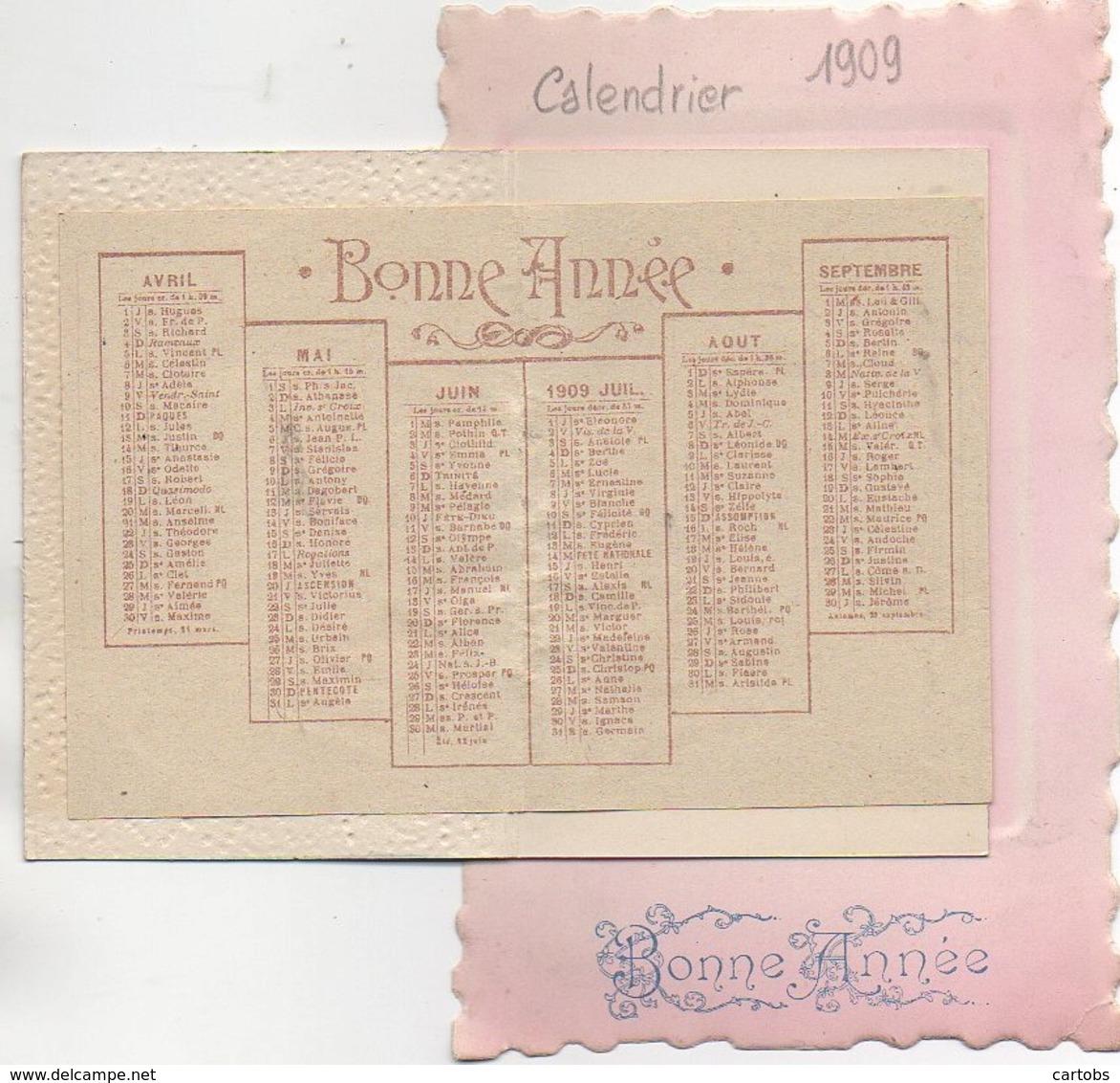 Carte Postale Avec CALENDRIER 1909 - Calendari
