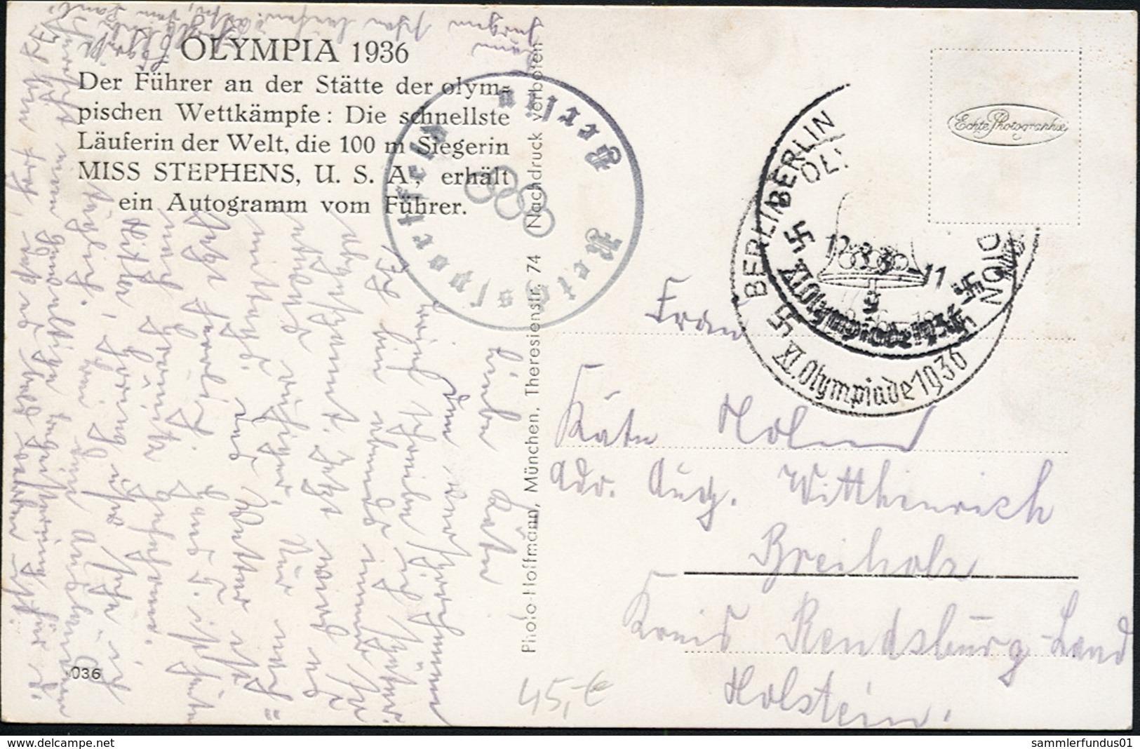 AK/CP R ! Propaganda  Hitler  Olympiade  Miss Stephens Erhält Autogramm  Gel/circ.1936   Erhaltung/Cond. 2-  Nr. 00817 - Guerre 1939-45