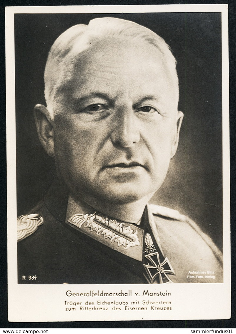 Foto AK/CP Ritterkreuzträger  GFM  Von Manstein   Ungel/uncirc.1933-45  Erhaltung/Cond. 2  Nr. 00833 - Guerre 1939-45