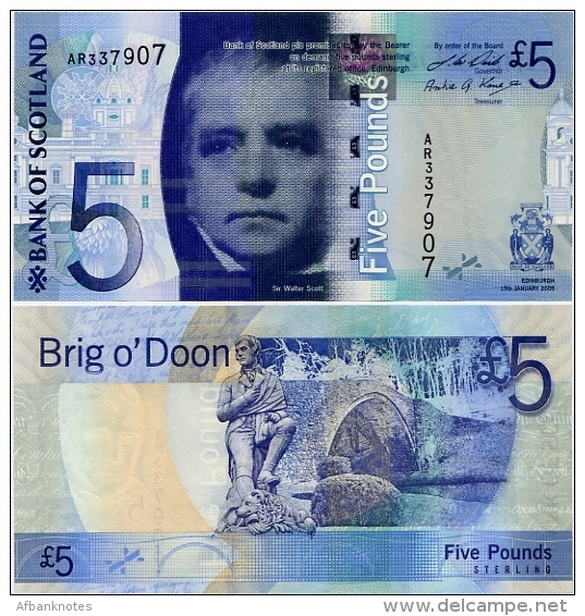 SCOTLAND - BoS     5 Pounds      P-124[b]       19.1.2009       UNC - [ 3] Scotland