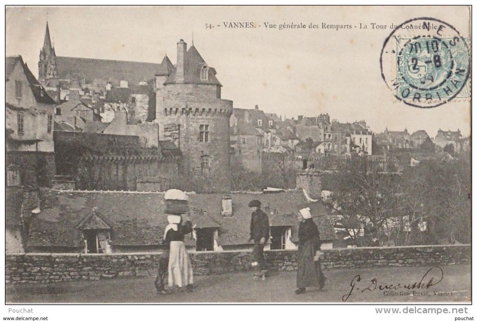 Q14- 56) VANNES  -VUE GENERALE DES REMPARTS -  LA TOUR DU CONNETABLE  - (ANIMÉE) - Vannes