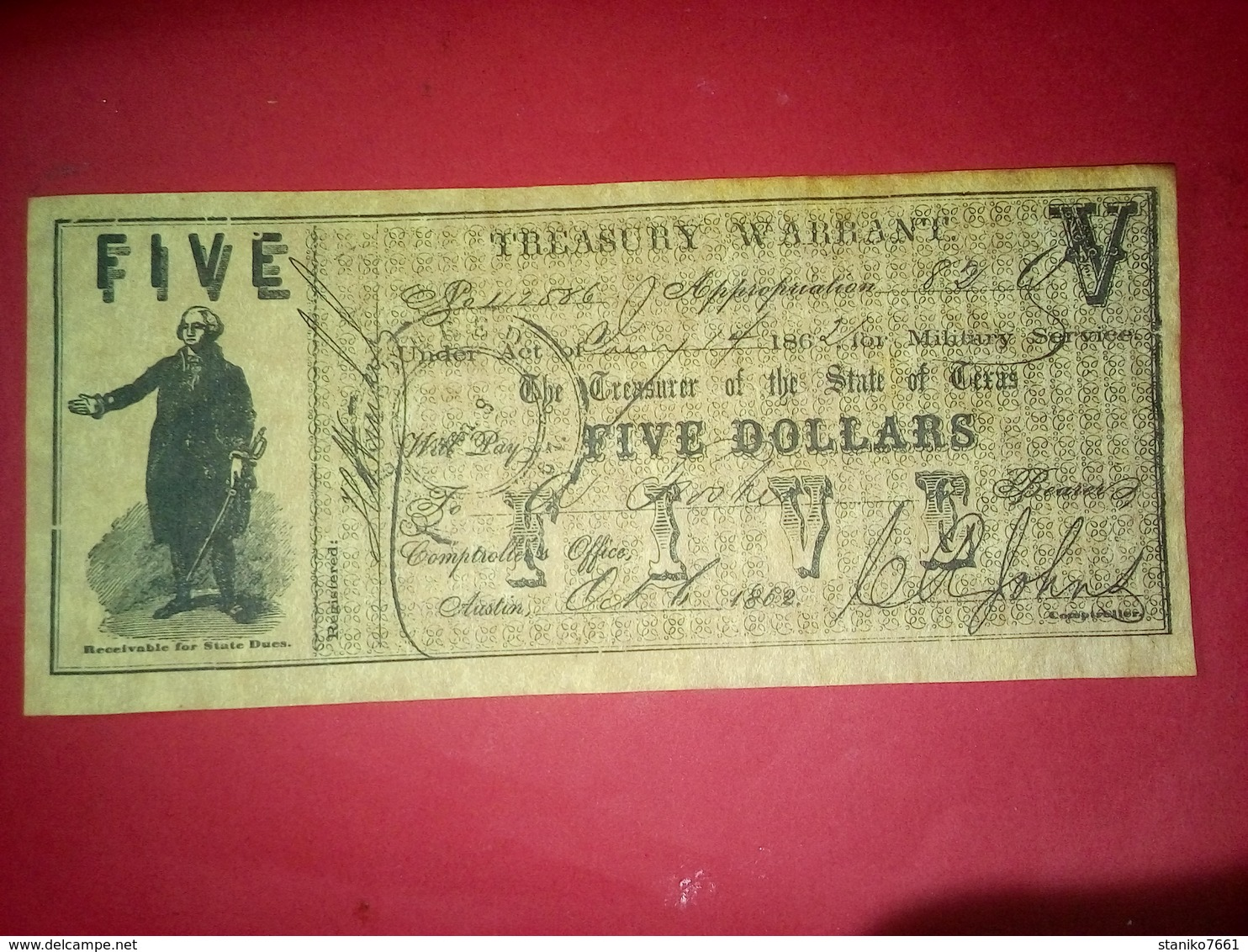 CONFEDERATE THE STATE OF TEXAS 5 DOLLARS FIVE DOLLAR USA 1862 Reproduction - Confederate (1861-1864)