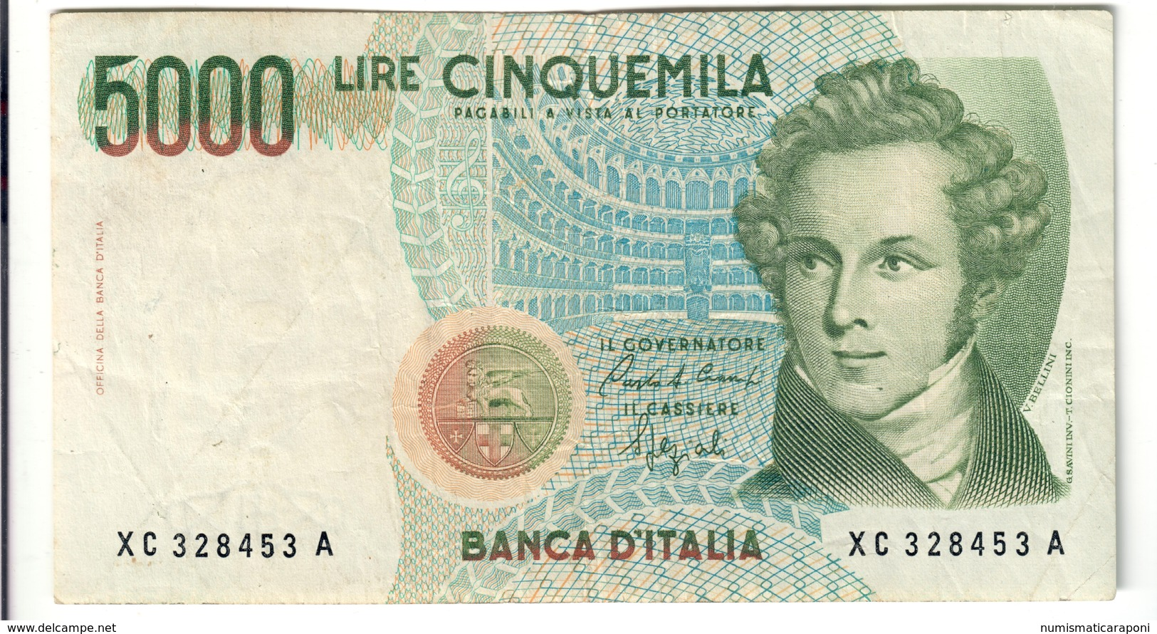 5000 LIRE BELLINI SERIE SOSTITUTIVA XC 1992  Raro NON TRATTATO LOTTO 2564 - [ 2] 1946-… : Repubblica