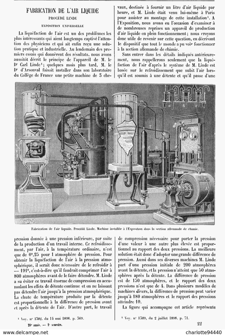 FABRICATION De L'AIR LIQUIDE à L'EXPOSITION UNIVERSELLE De  1900 - Technical