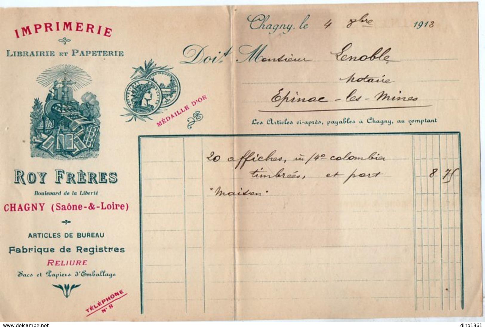 VP15.219 - Facture - Imprimerie - Librairie Et Papeterie ROY Frères à CHAGNY ( Saône & Loire ) - Printing & Stationeries