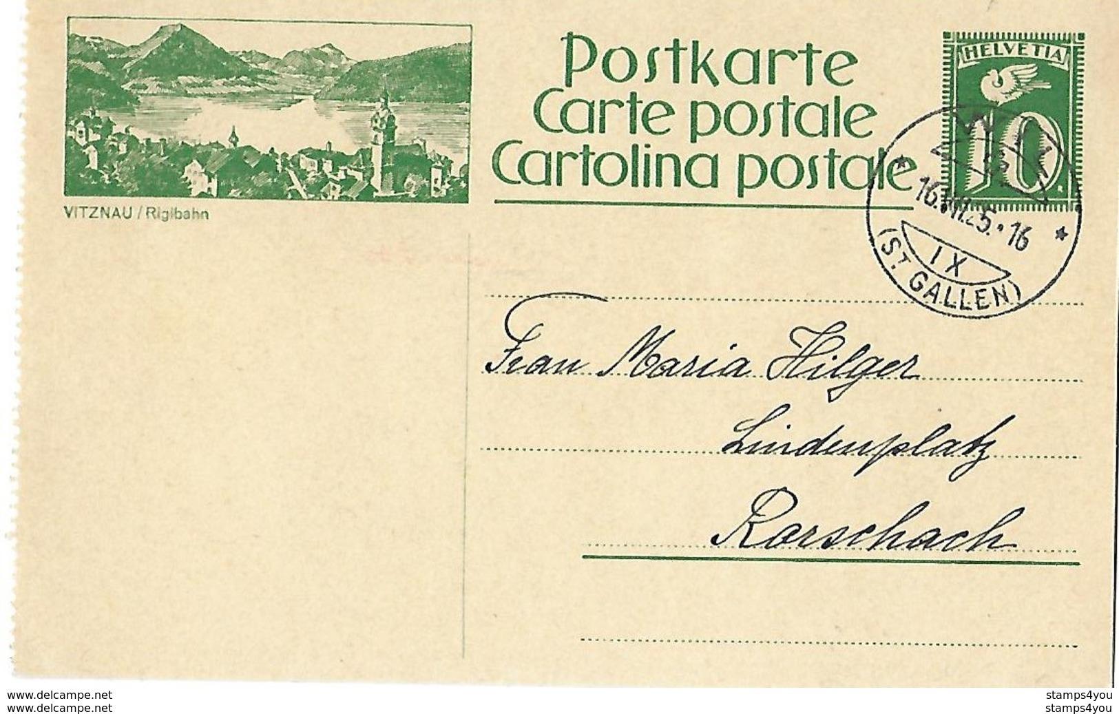 "11 - 48 - Entier Postal Avec Illustration ""Vitznau"" Cachet à Date Wil (St Gallen) 1925 - Interi Postali"