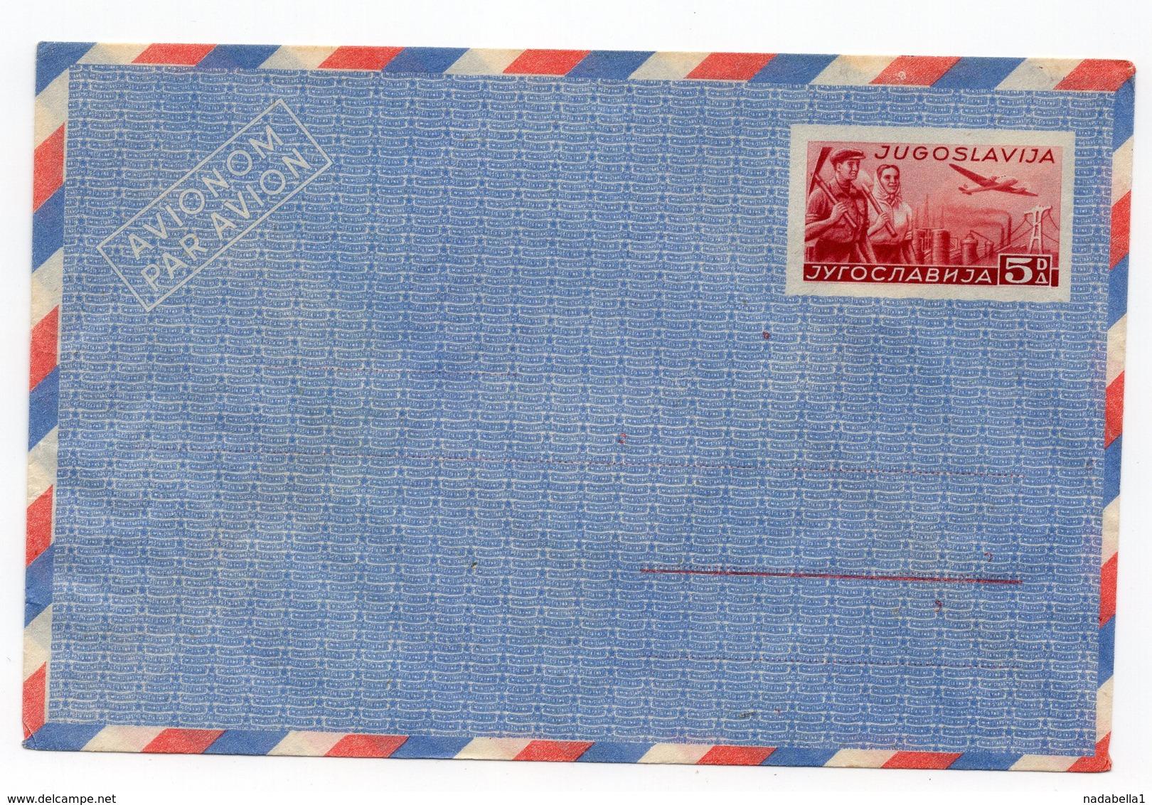 1940s 50s FNR YUGOSLAVIA, STAMP IMPRINTED COVER, POSTAL STATIONERY - Postal Stationery