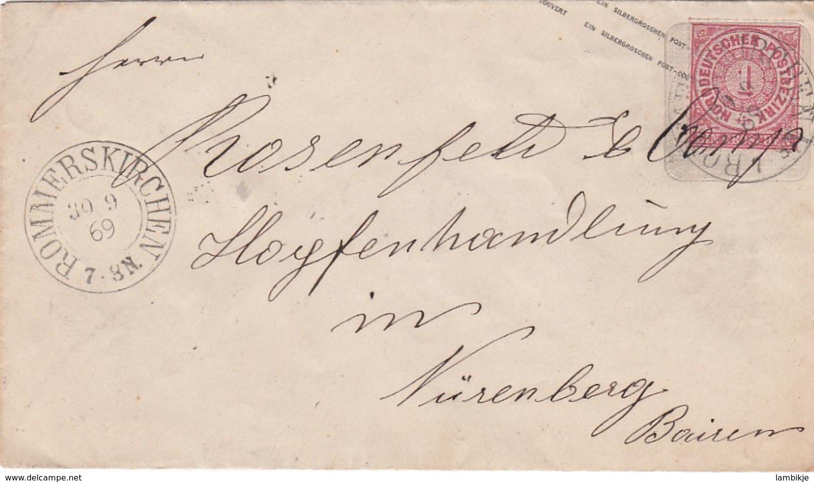 AD Nord Deutscher Postbezirk Umschlag 1869 - Conf. De Alemania Del Norte