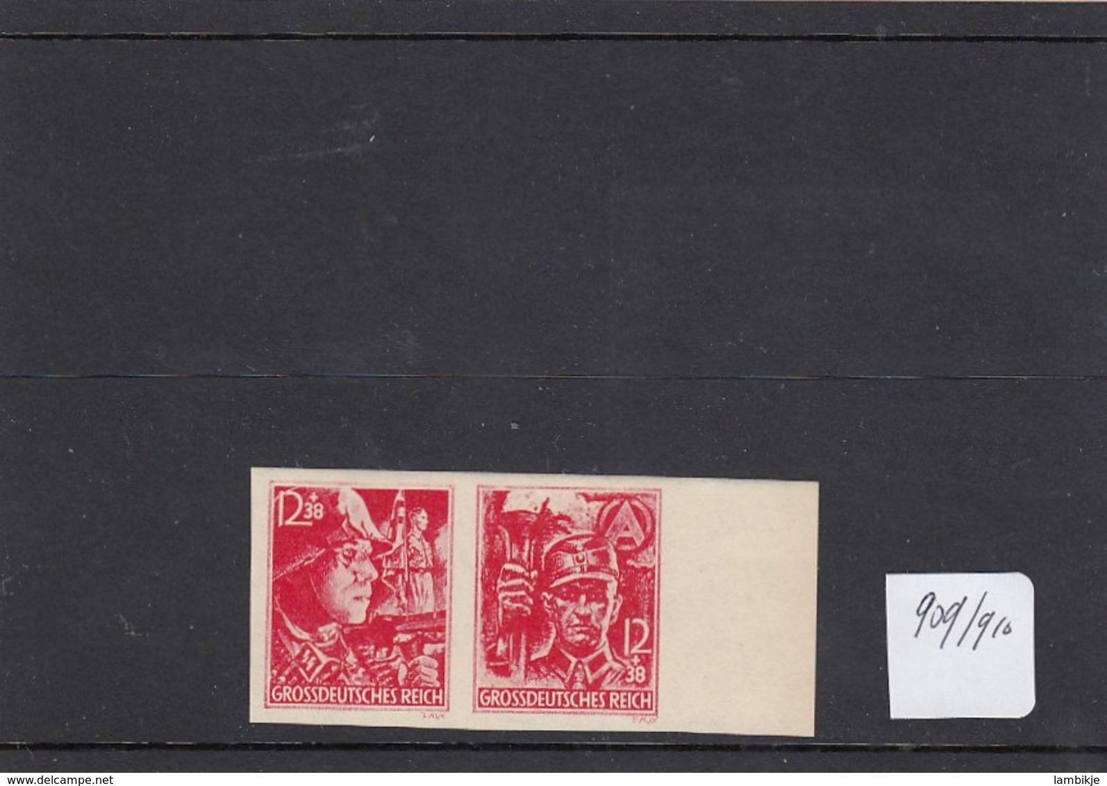 Deutsches Reich 2 Briefmarken 909 & 910 - Ungebraucht