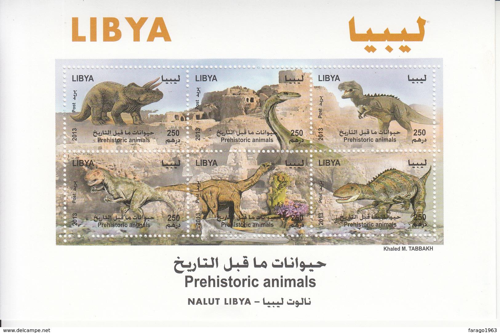 2013 Libya Dinosaurs  Miniature Sheet Of 6 MNH - Libië
