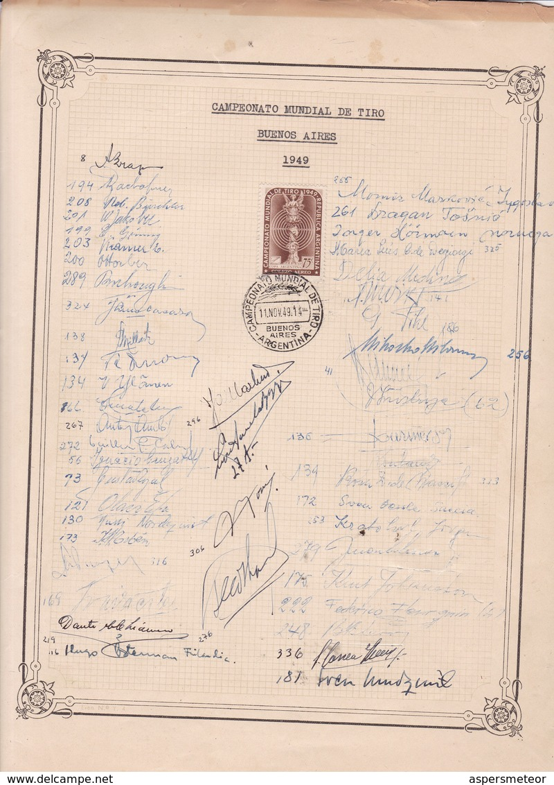 1949 CAMPEONATO MUNDIAL DE TIRO BUENOS AIRES AUTOGRAFOS TIRADORES ORIGINAL RARE TAKE A LOOK - BLEUP - Autographes