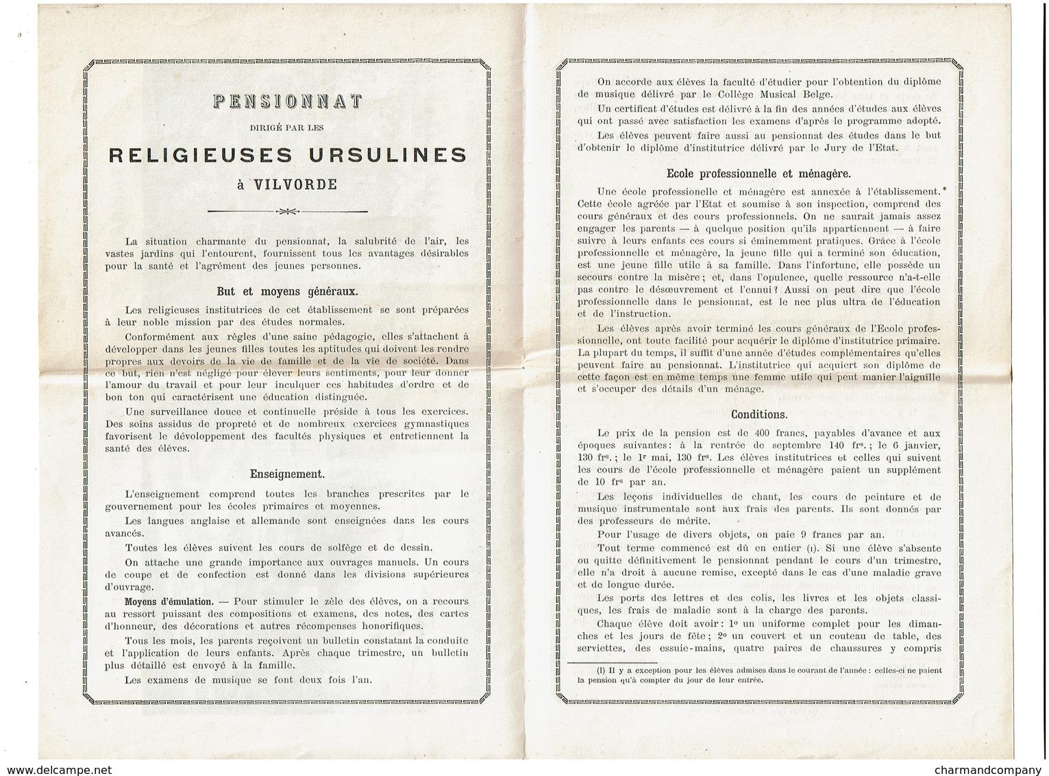C1880 - Pensionnat Des Ursulines à Vilvorde - Publicité / Conditions / Uniforme ..  - 3 Scans - Advertising