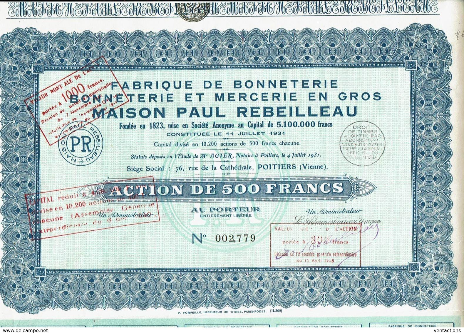 86-FABRIQUE DE BONNETERIE. BONNETERIE ET MERCERIE EN GROS. MAISON PAUL REBEILLEAU. POITIERS - Other