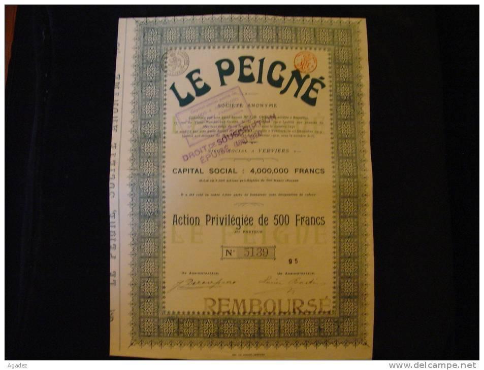 """Action Privilégiée""""Le Peigné""""Capital Social 4 000 000F Verviers  1920 Textile,laine,wool - Textile"""