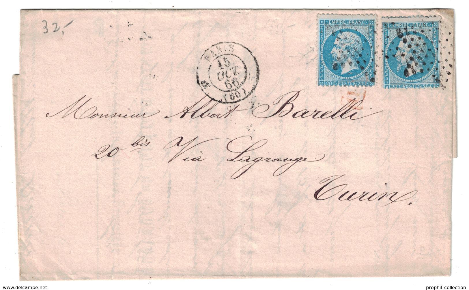 1866 - LETTRE LAC Avec NAPOLEON 20c X 2 De PARIS Pour TURIN TORINO ITALIE ITALIA + PD EN ROUGE ENTETE RATTIER - Postmark Collection (Covers)