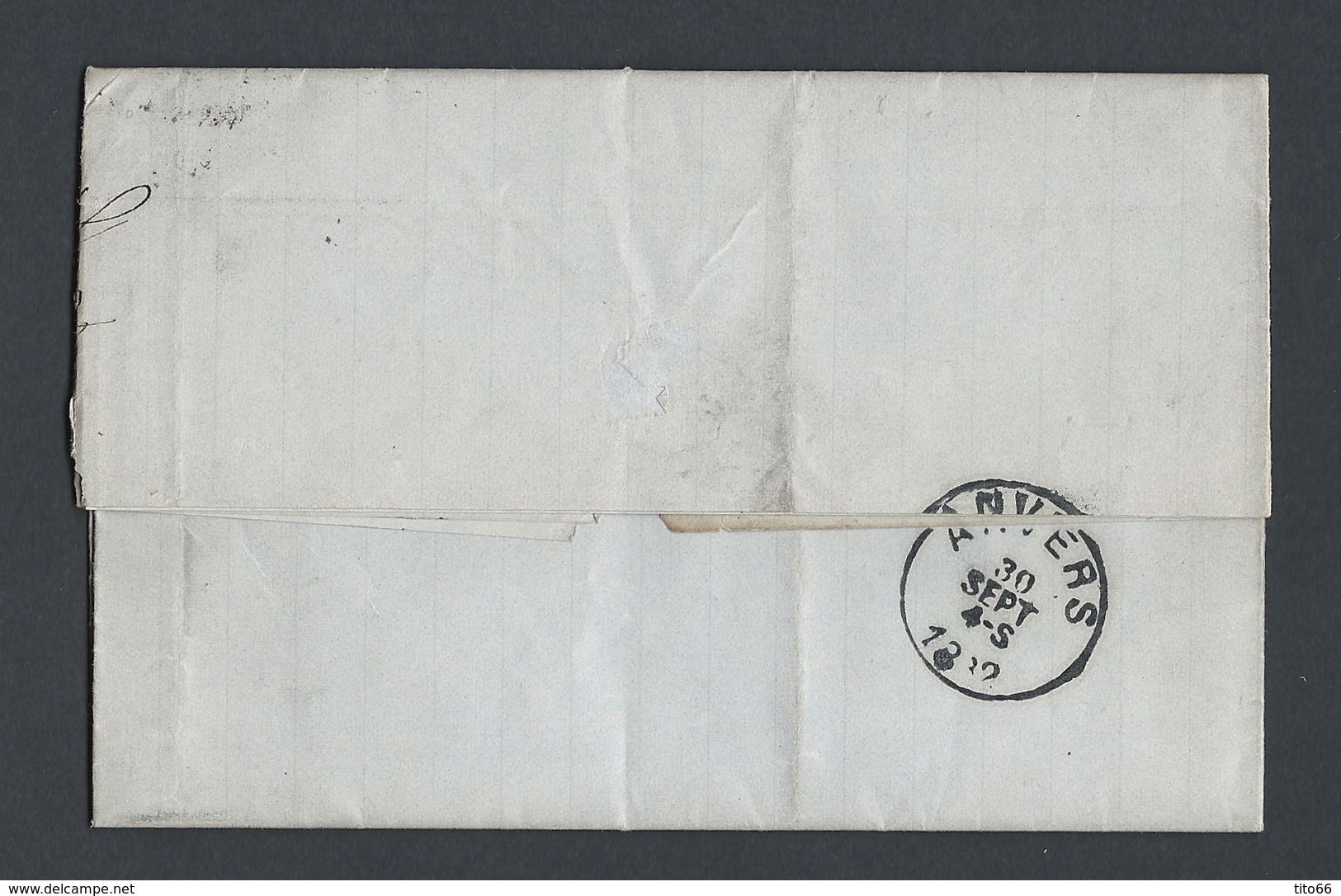 Sage N°92 Sur Lettre Correspondance Négoce Du Café TAD Le Havre 29/9/1882 Vers Anvers - Postmark Collection (Covers)