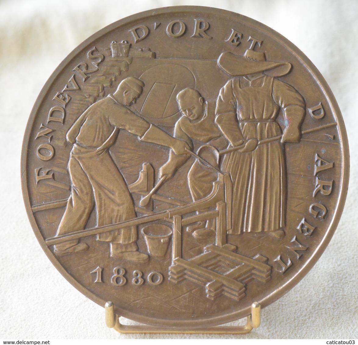 SUPERBE ET RARE MÉDAILLE DE TABLE FONDEURS D'OR ET D'ARGENT 1973 Bronze MDP - Diamètre 113 Mm - 550gr - Royal / Of Nobility
