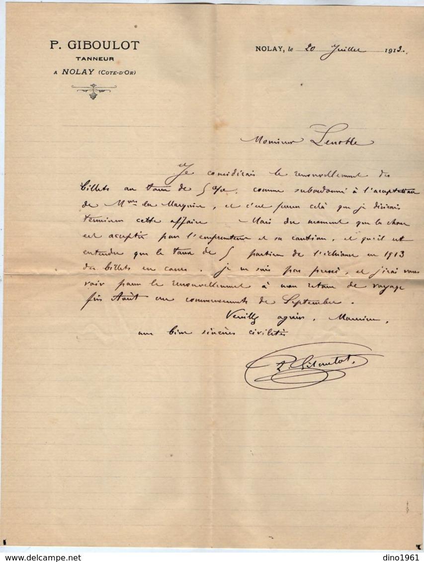 VP15.230 - Lettre - P. GIBOULOT Tanneur à NOLAY ( Côte - D'Or ) - Old Professions
