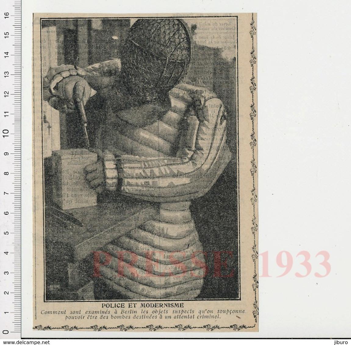 Presse 1933 Police Démineur Déminage D'une Bombe à Berlin Artificier Criminologie 223CHV6 - Old Paper