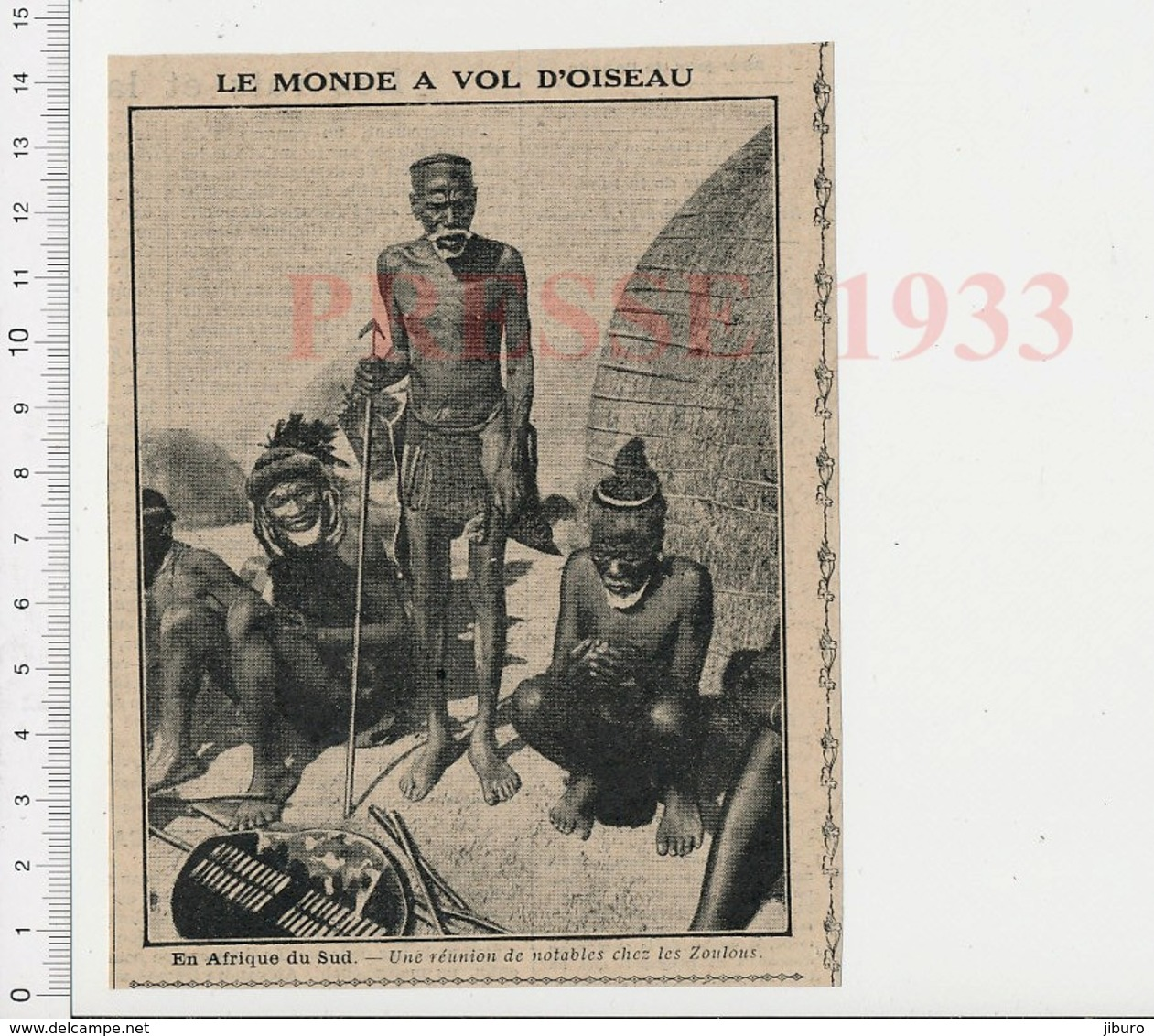 Presse 1933 Notables Zoulous Afrique Du Sud 223CHV6 - Old Paper