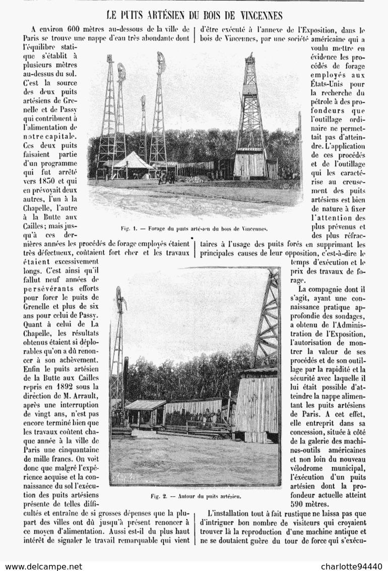 LE PUITS ARTESIEN Du BOIS De VINCENNES  1901 - Other
