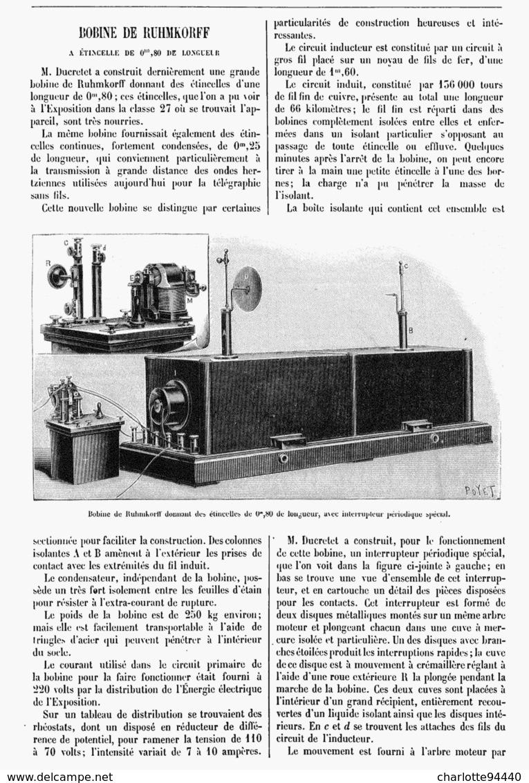 BOBINE De RUHMKORFF à Etincelles De 0,80 M De Longueur  1901 - Other