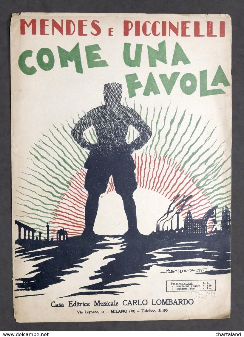 Musica Spartito - Mendes E Piccinelli - Come Una Favola - Piano E Canto - 1926 - Old Paper