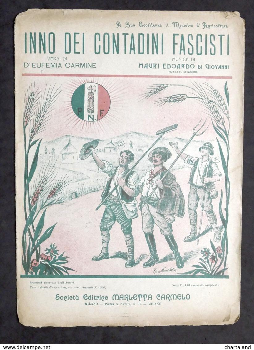 Musica Spartito - Inno Dei Contadini Fascisti - Ed. 1923 Marletta - Old Paper