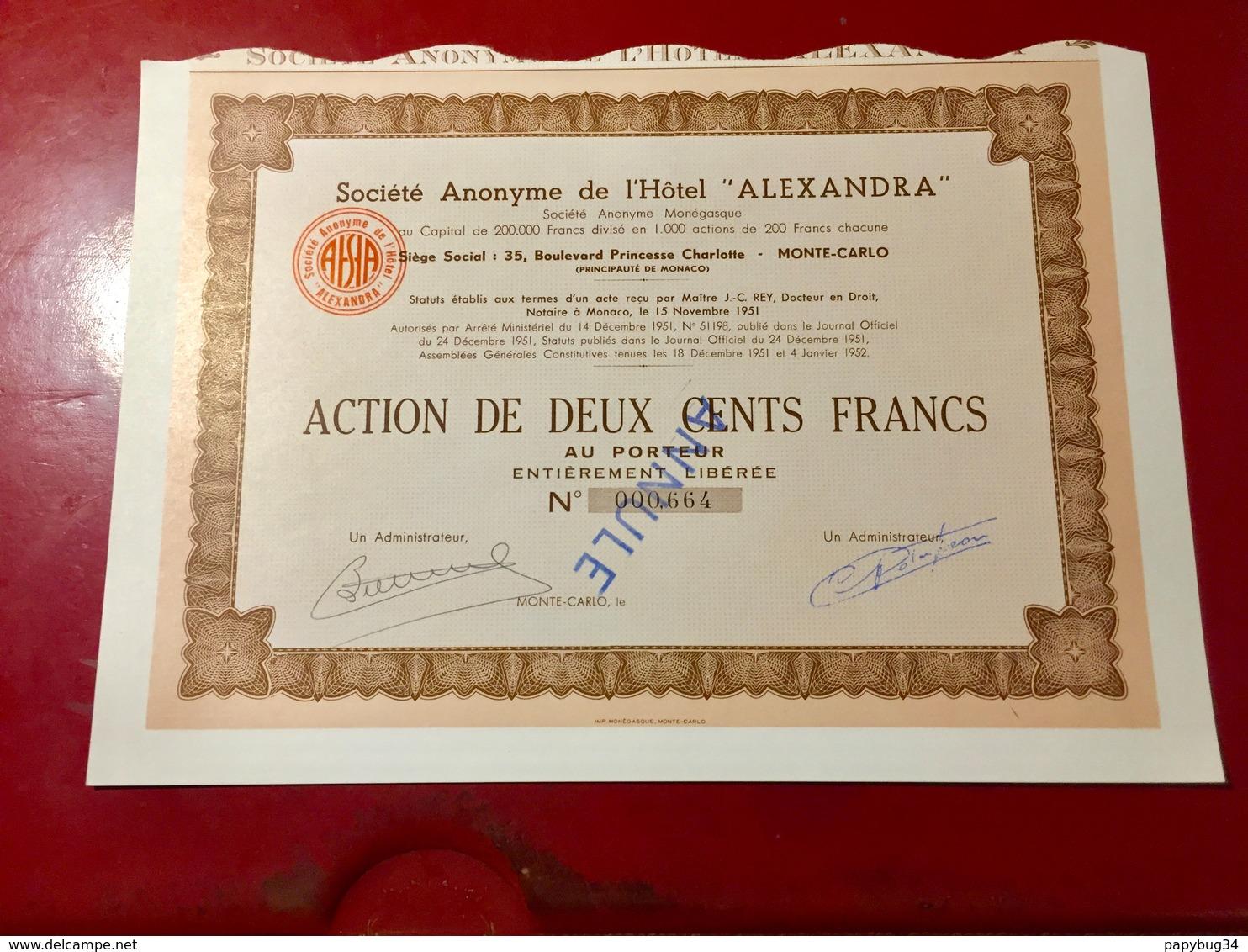 S.A.  De  L' HÔTEL  ' ALEXANDRA ' ------- Action  De  200 Frs - Tourism