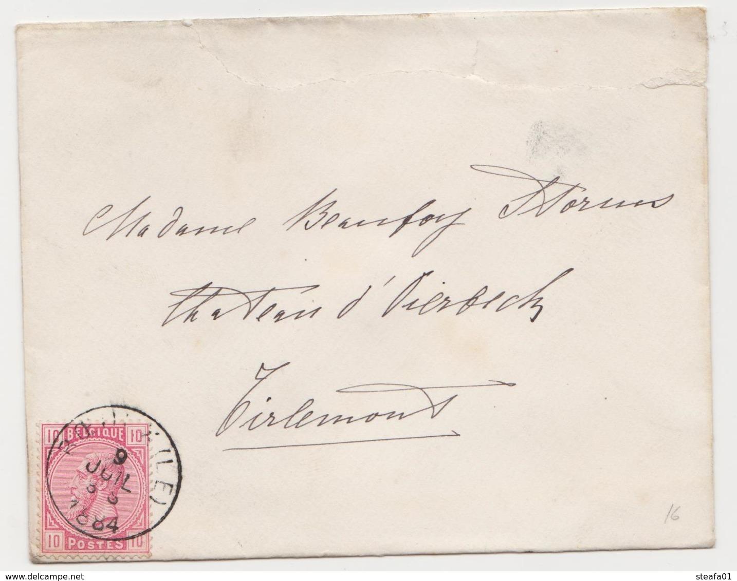 Tienen, Thienen, Tirlemont, Kasteel Oorbeek, Van Sint-Truiden Enveloppe Voor Mevrouw John Beaufoy Storms, 1887 - Old Paper
