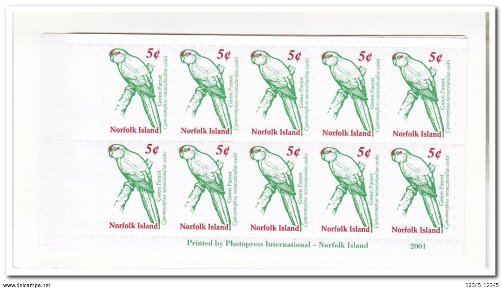 Norfolk Eiland 2001, Postfris MNH, Birds, Parrots ( Booklet, Carnet ) - Norfolk Island