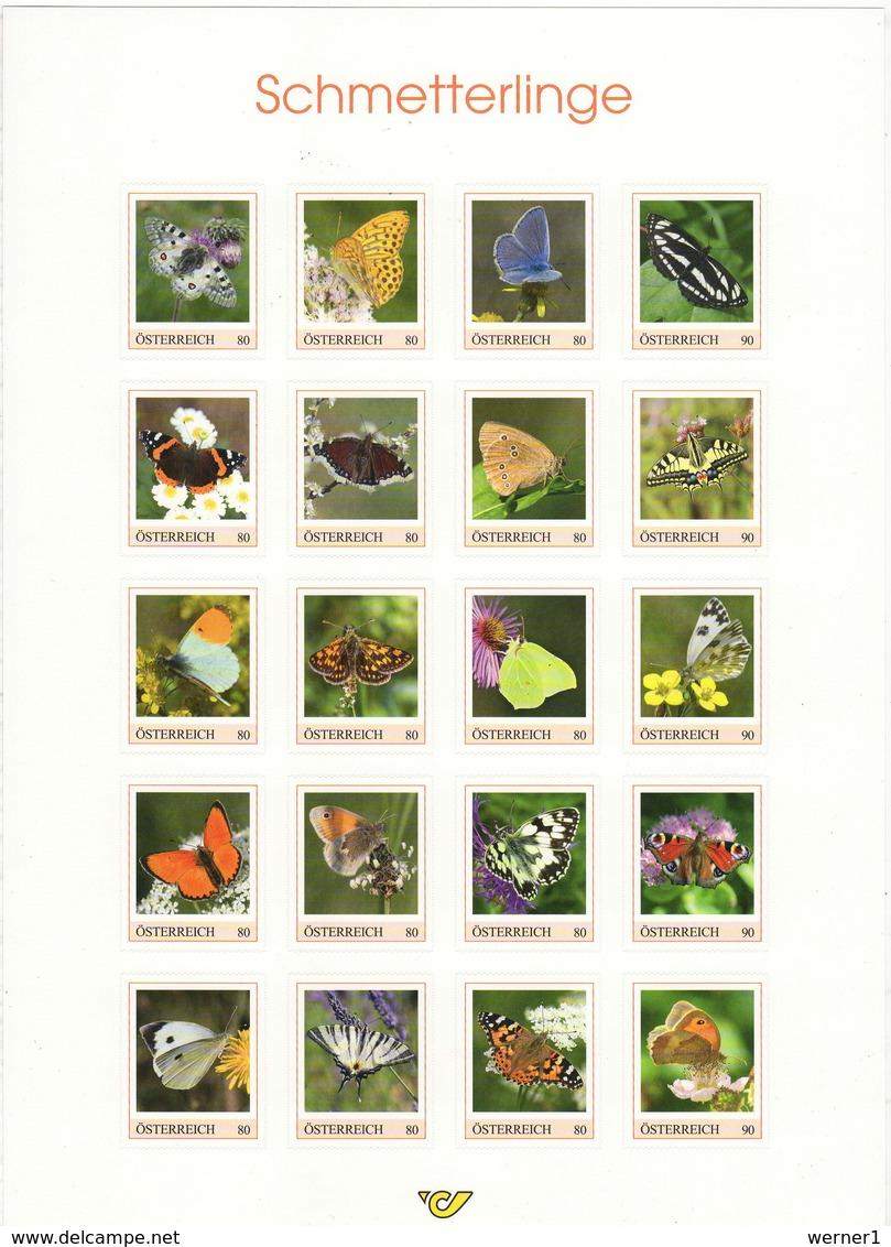 Austria 2019 Butterflies Sheetlet With 20 Stamps In A Folder MNH - Farfalle