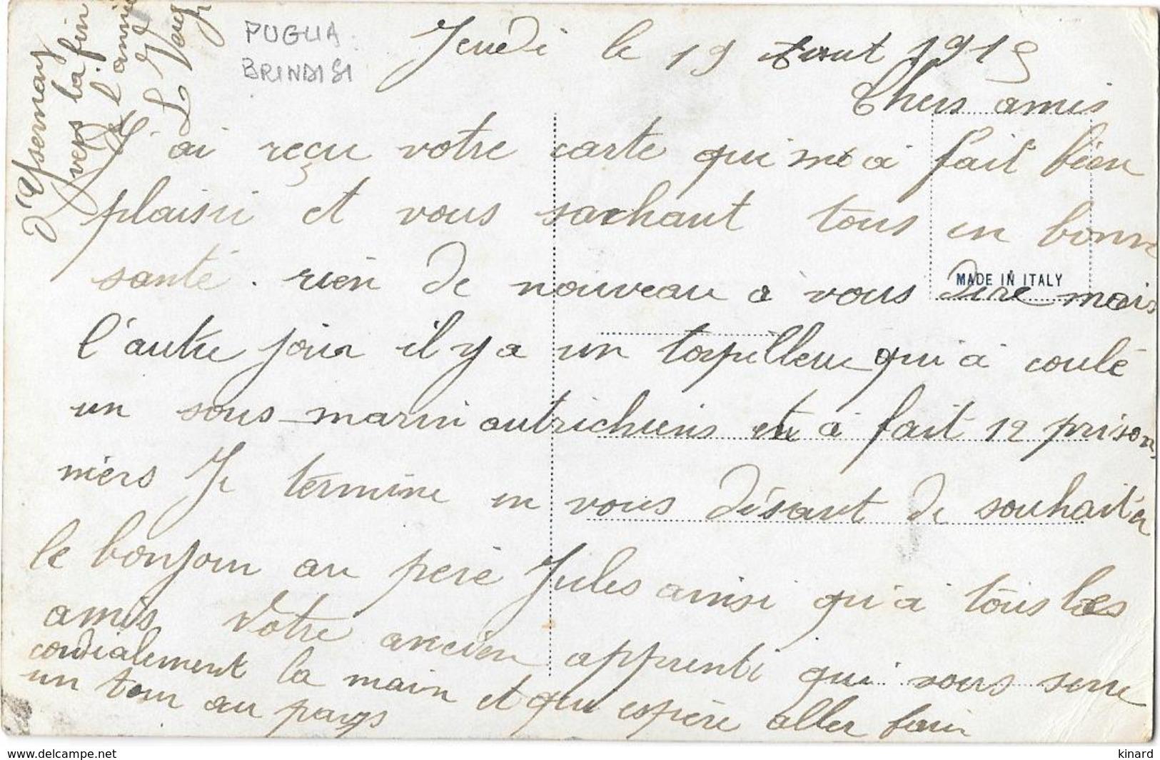 CPA..BRINDISI..SALUTI DA BRINDISI ...PAPILLON ..PREGA ANGELO SINISTRO...VEDERE LA SCANSIONE..1915.. - Brindisi