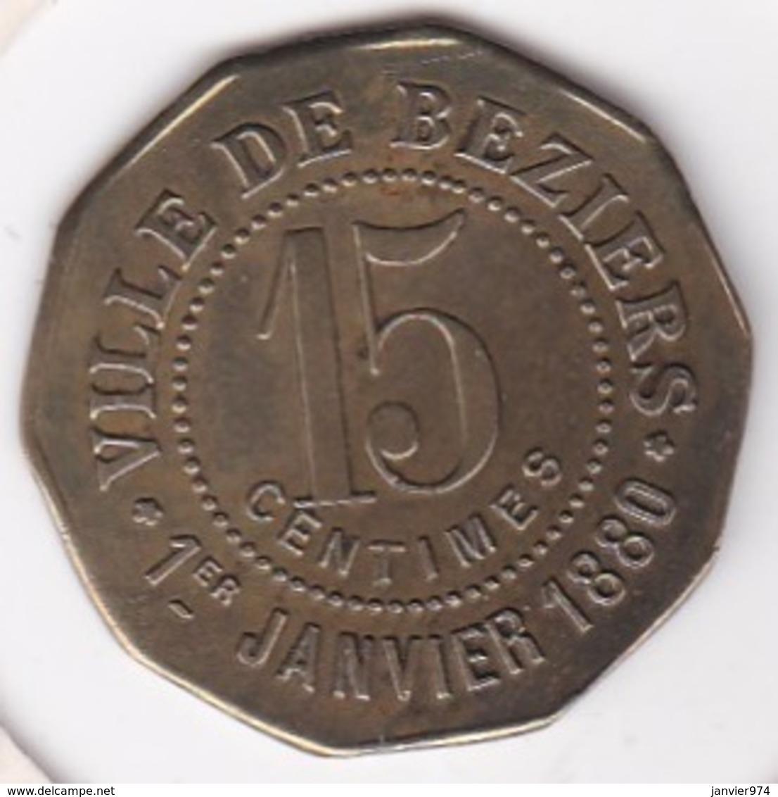 34. Hérault. Béziers. La Fraternelle Fourneaux Démocratiques 15 Centimes, En Laiton - Monétaires / De Nécessité