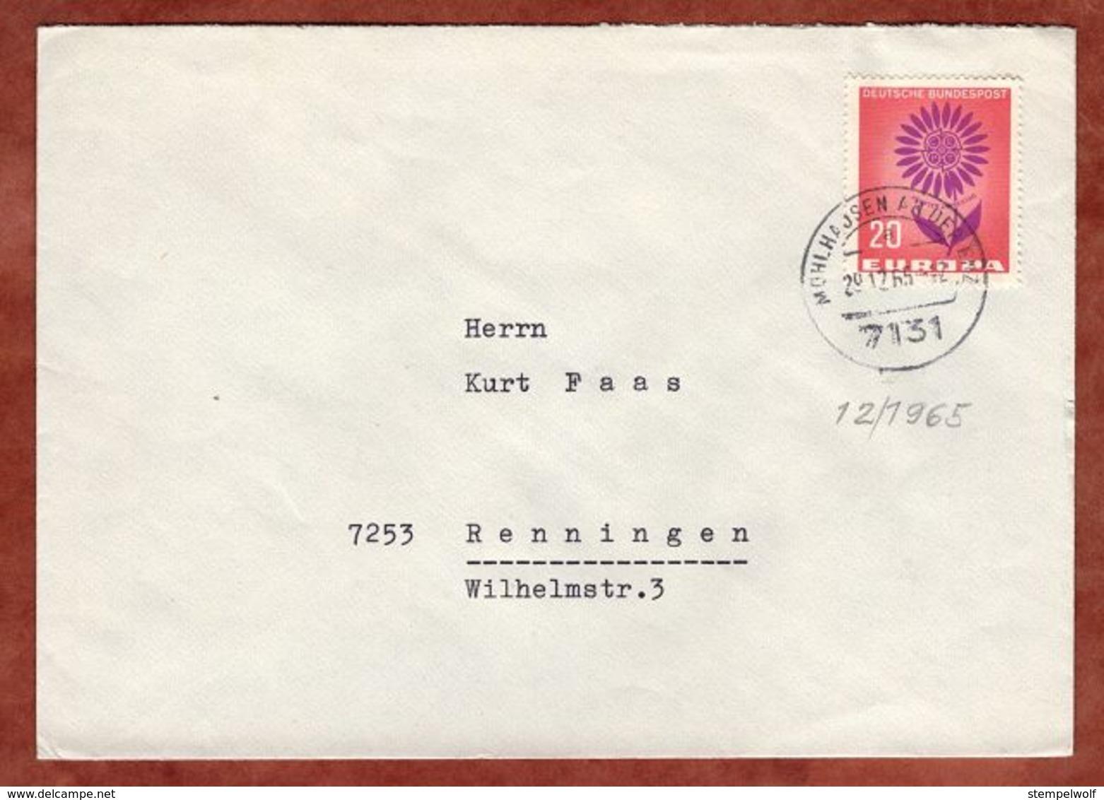 Brief, Europa, Muehlhausen Enz Nach Renningen 1965 (75263) - Covers & Documents