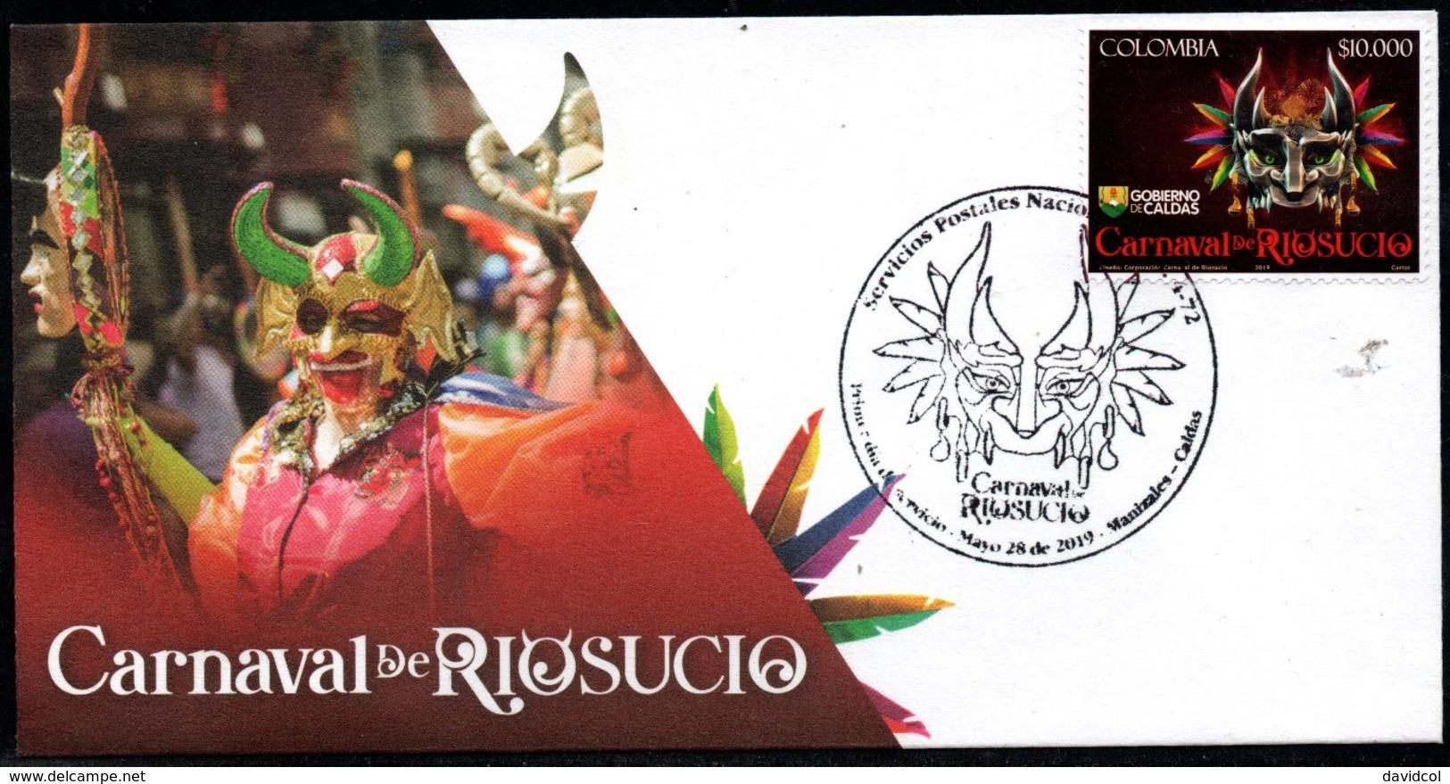 COLOMBIA- KOLUMBIEN- 2019 FDC/SPD.  RIOSUCIO'S CARNIVAL (DEVIL CARNIVAL) - Colombia