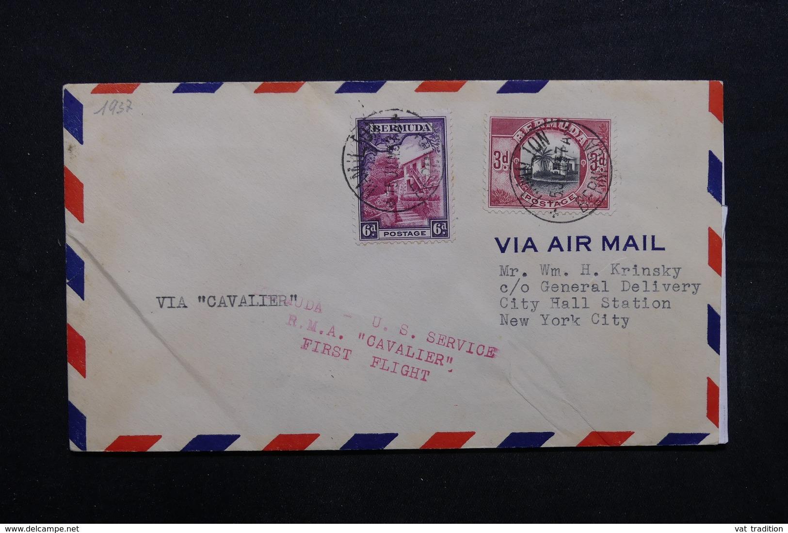 """BERMUDES - Enveloppe 1er Vol  """" Cavalier """" Pour New York En 1937 , Affranchissement Plaisant - L 32699 - Bermuda"""