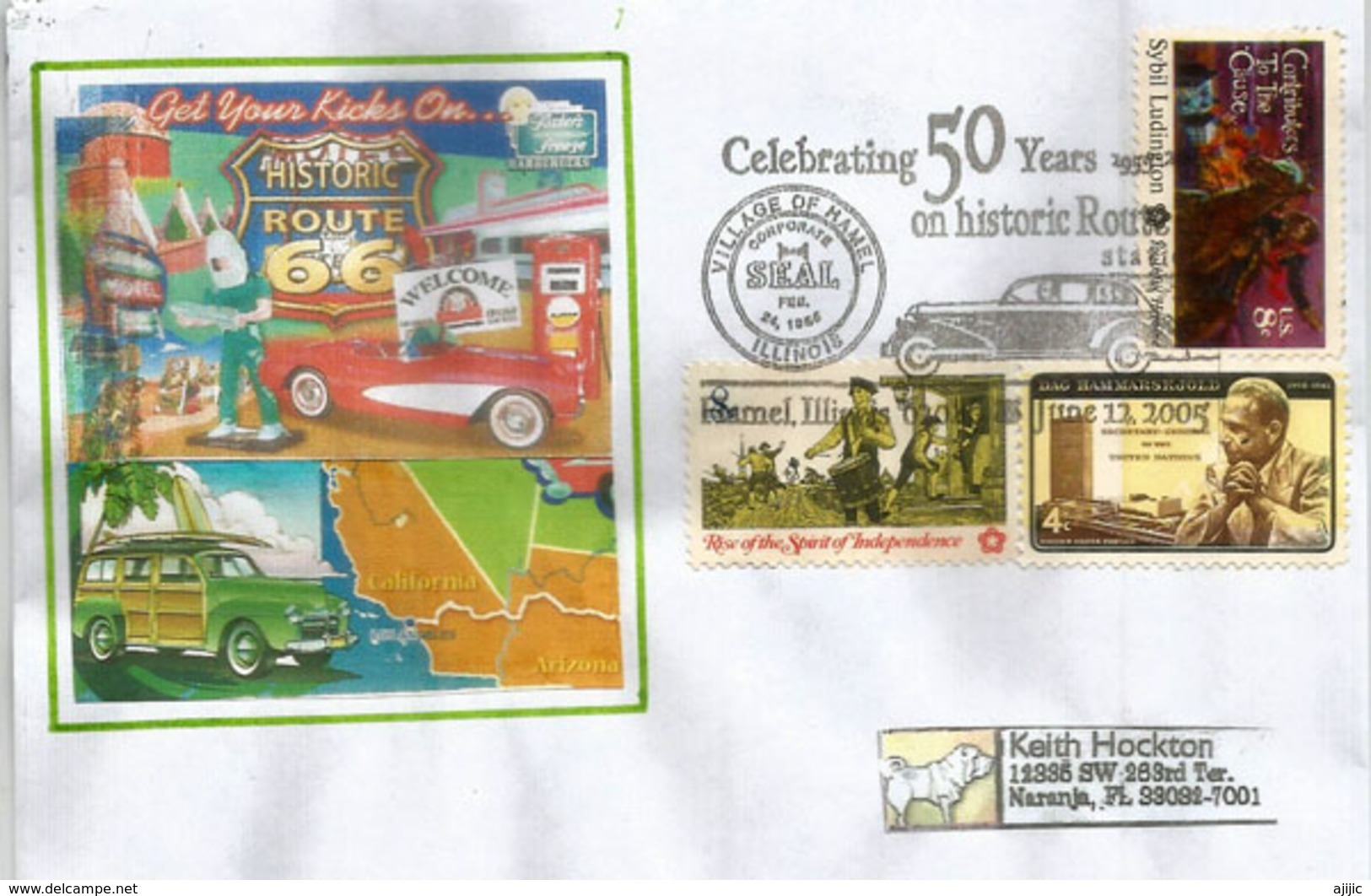 USA. Celebrating 50 Years Historic Route 66 (Main Street Of America) Chicago-to-Los Angeles. Special Letter - Event Covers