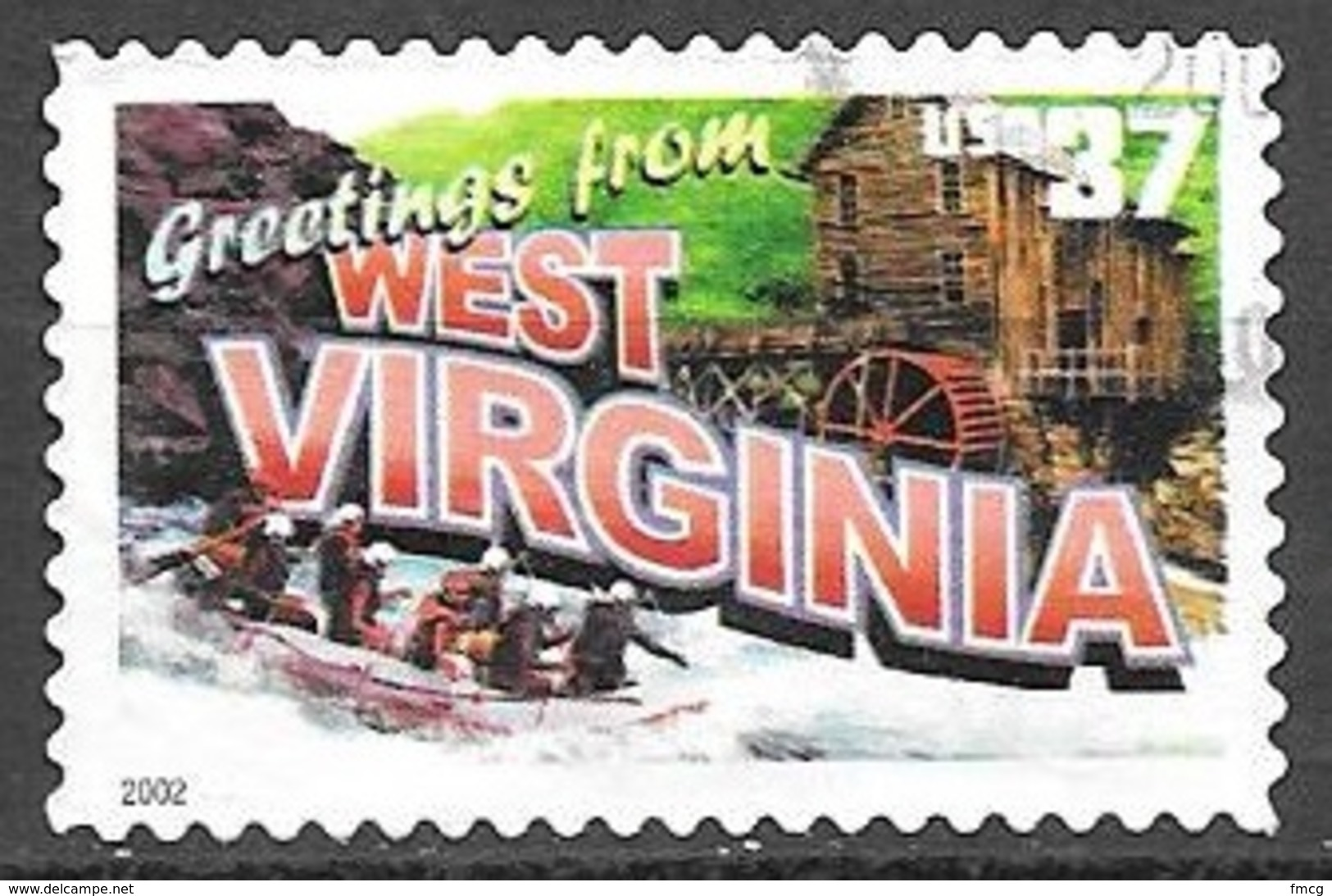 2002 37 Cents State Greetings, West Virginia, Used - United States