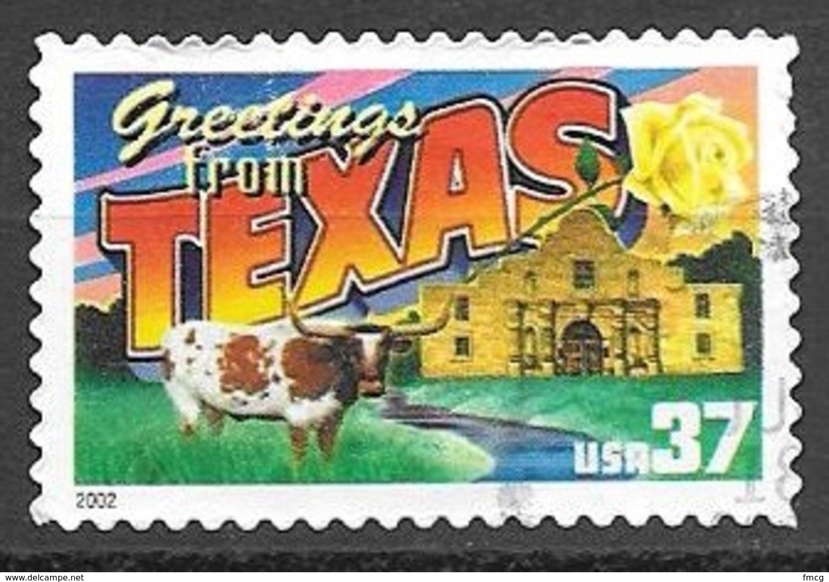 2002 37 Cents State Greetings, Texas, Used - United States
