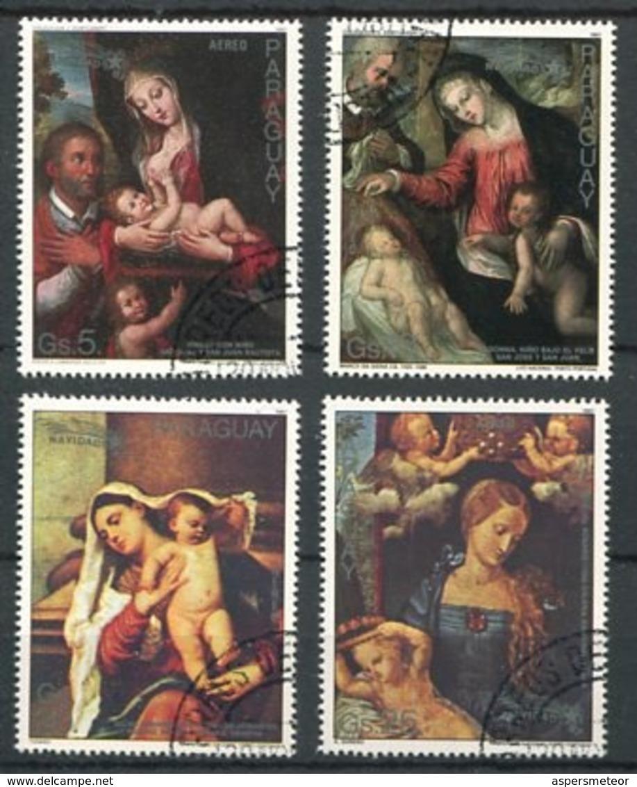 NAVIDAD XMAS CHRISTMAS NOEL, VIRGEN CON EL NIÑO JESUS. PARAGUAY 1987 YVERT 1065 / 1069 COMPLETE SERIE OBLITERES -LILHU - Paraguay