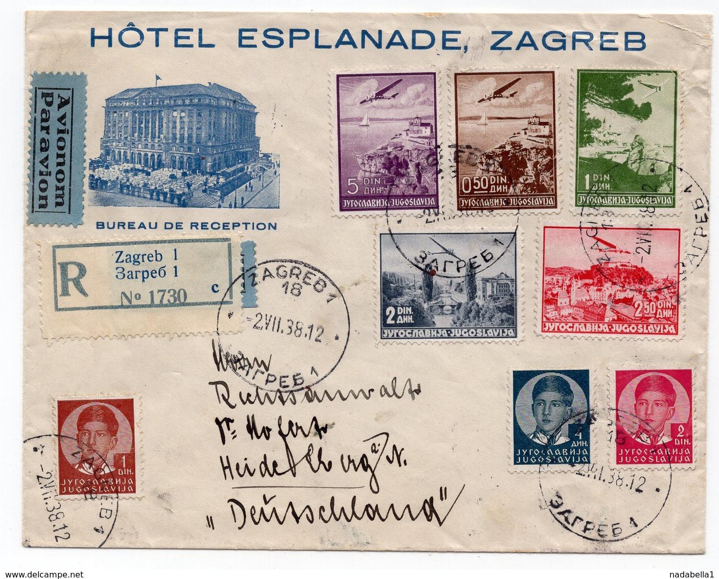 1938 YUGOSLAVIA, CROATIA, HOTEL ESPLANADE ZAGREB TO HEIDELBERG, GERMANY, AIR MAIL, RECORDED - 1931-1941 Kingdom Of Yugoslavia