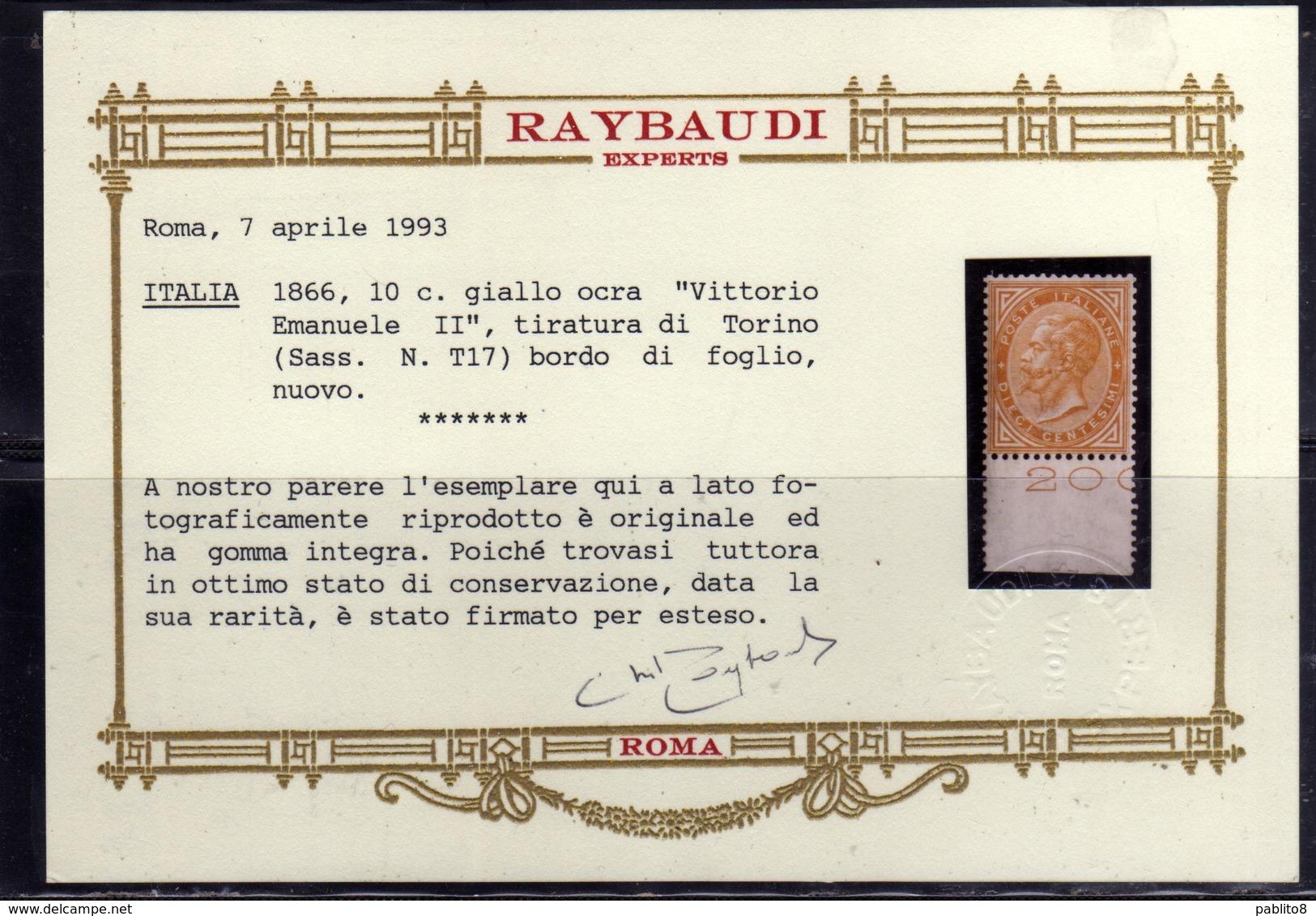 ITALIA REGNO ITALY KINGDOM 1863 1866 EFFIGIE RE VITTORIO EMENUELE II CENT. 10c TORINO MNH OTTIMA CENTRATURA CERTIFICATO - Nuovi