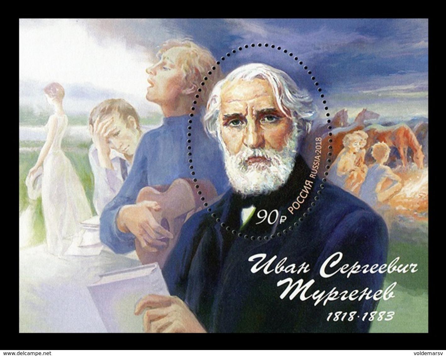 Russia 2018 Mih. 2597 (Bl.264) Writer Ivan Turgenev MNH ** - Unused Stamps