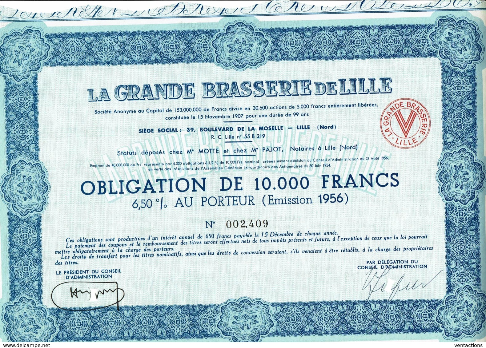 59-BRASSERIE DE LILLE. LA GRANDE ...Oblig 1956 - Other