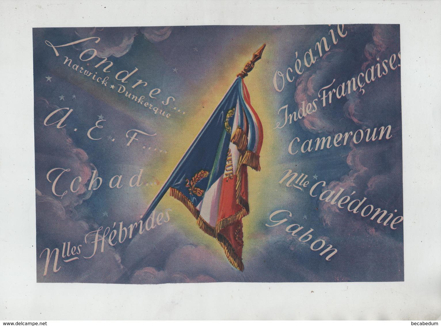 Drapeau Londres AEF Tchad Nlles Hébrides Calédonie Gabon Cameroun Indes Françaises Océanie - 1939-45